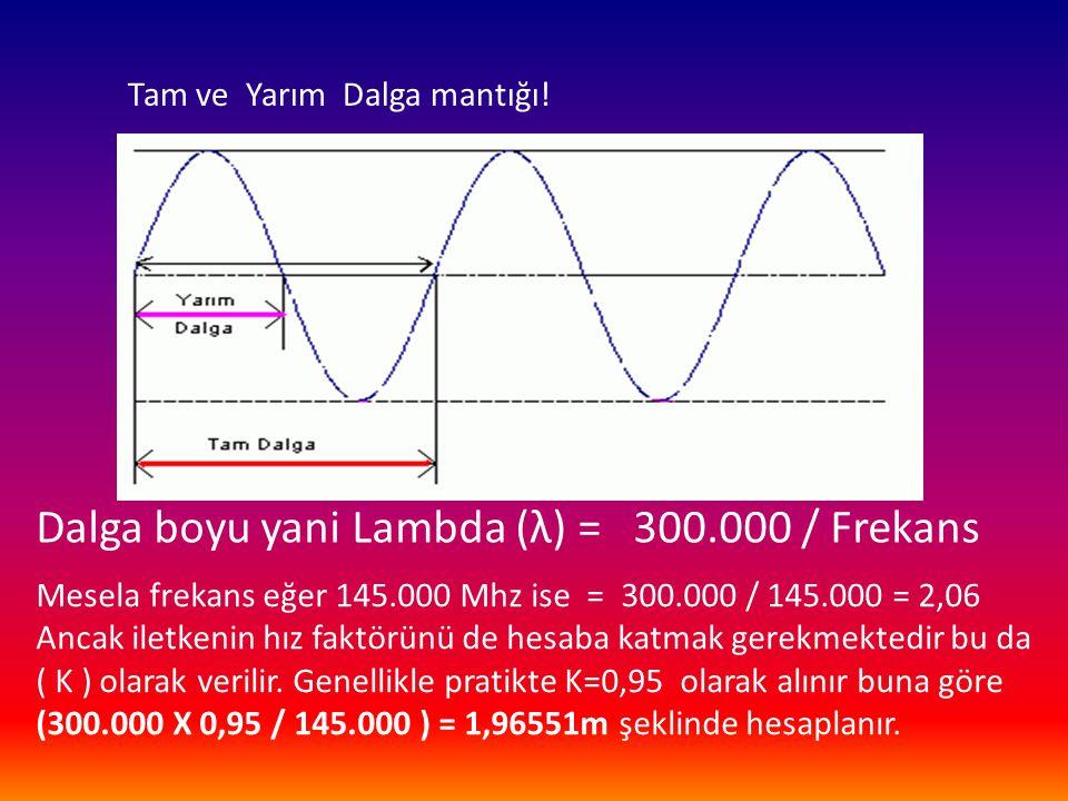 Dalga boyu yani Lambda (λ) = 300.000 / Frekans