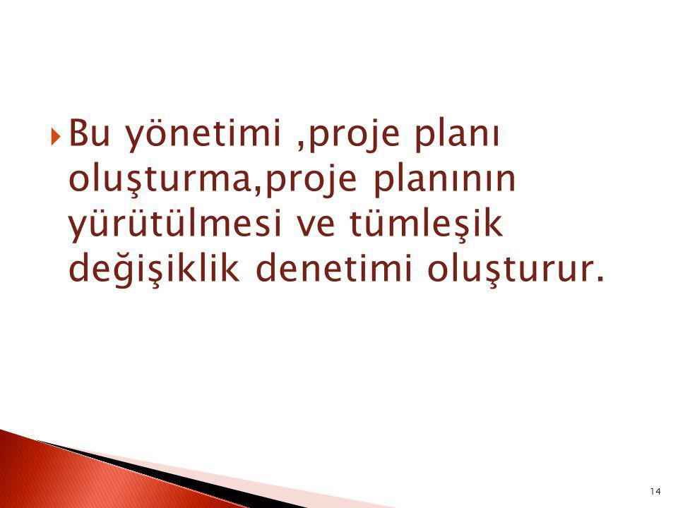 Bu yönetimi ,proje planı oluşturma,proje planının yürütülmesi ve tümleşik değişiklik denetimi oluşturur.