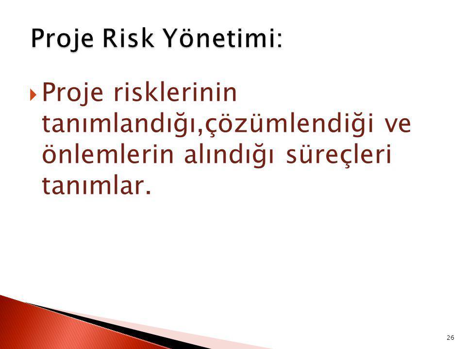 Proje Risk Yönetimi: Proje risklerinin tanımlandığı,çözümlendiği ve önlemlerin alındığı süreçleri tanımlar.