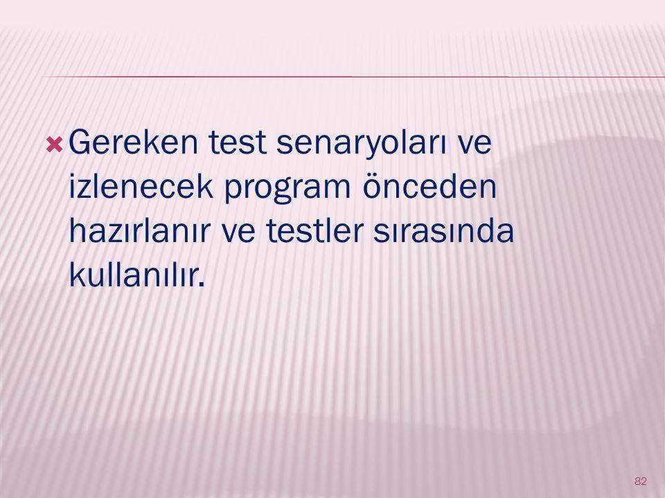 Gereken test senaryoları ve izlenecek program önceden hazırlanır ve testler sırasında kullanılır.