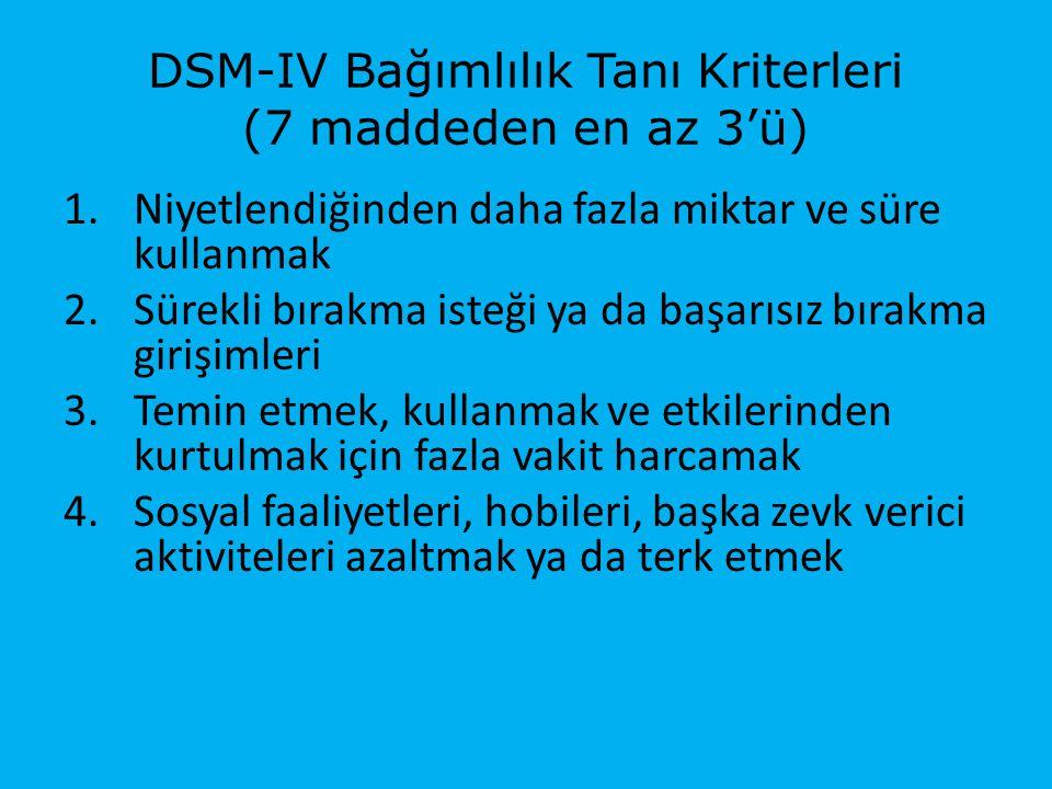 DSM-IV Bağımlılık Tanı Kriterleri (7 maddeden en az 3'ü)