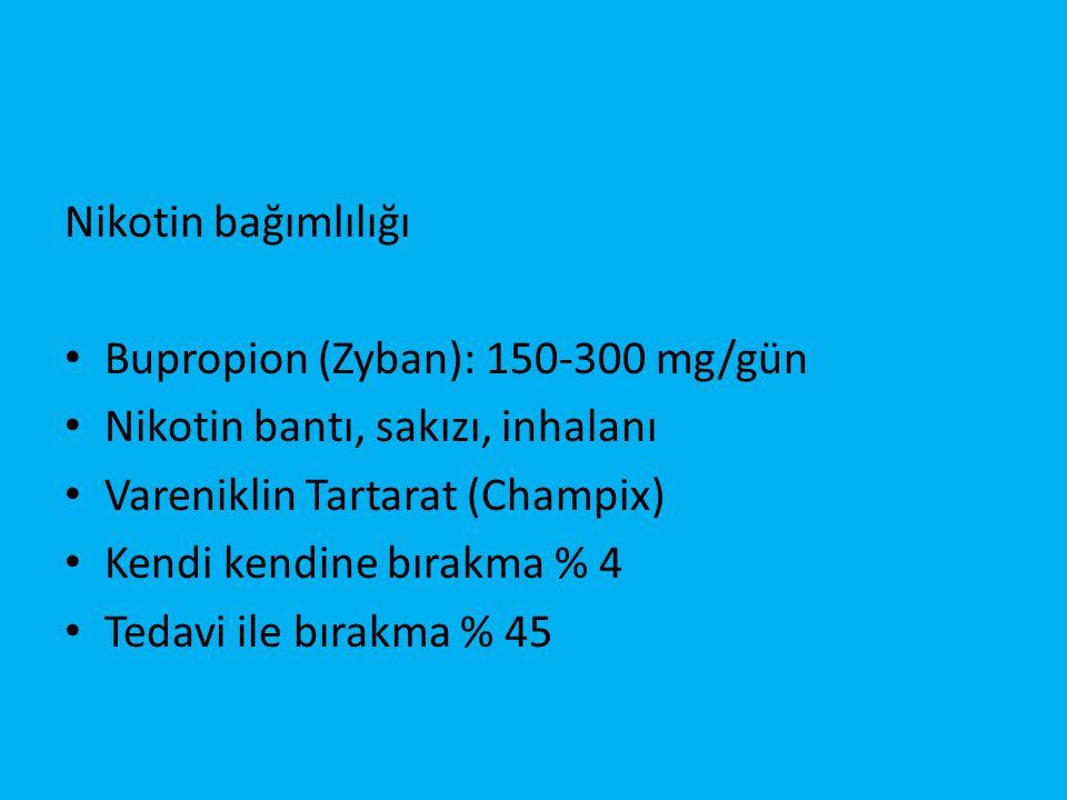 Nikotin bağımlılığı Bupropion (Zyban): 150-300 mg/gün. Nikotin bantı, sakızı, inhalanı. Vareniklin Tartarat (Champix)