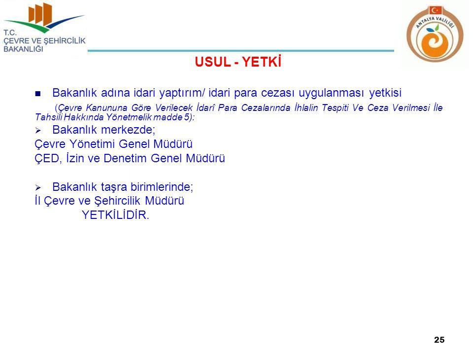 USUL - YETKİ Bakanlık adına idari yaptırım/ idari para cezası uygulanması yetkisi.