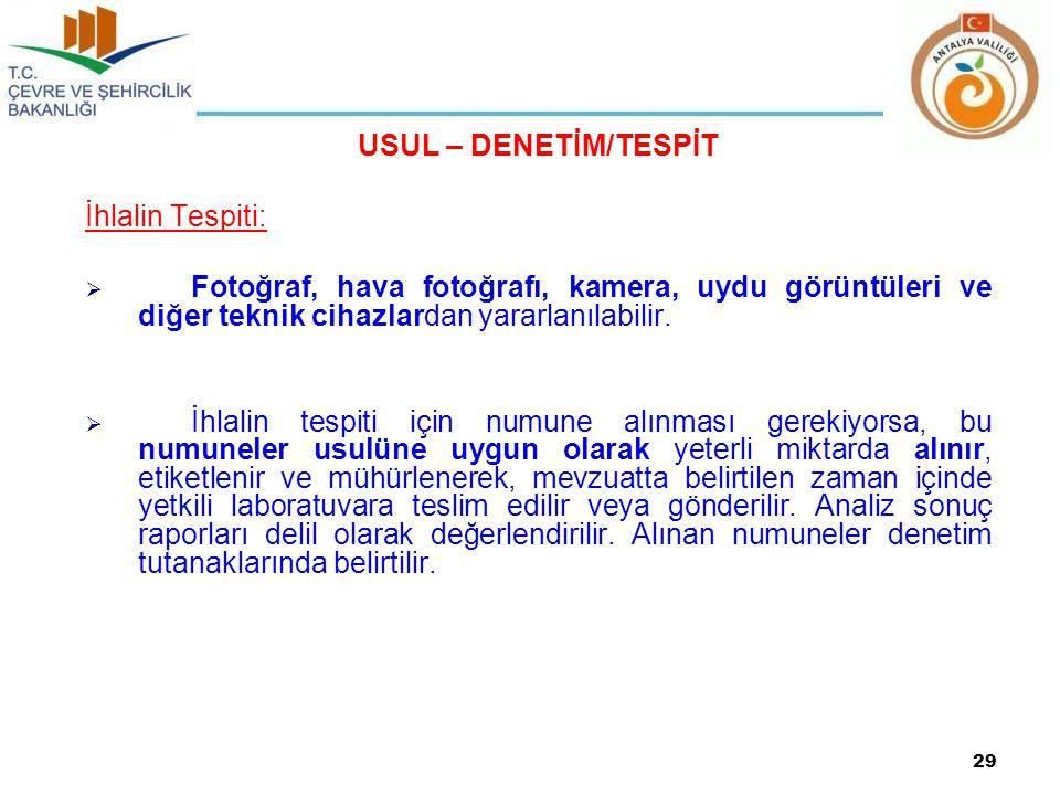 USUL – DENETİM/TESPİT İhlalin Tespiti: Fotoğraf, hava fotoğrafı, kamera, uydu görüntüleri ve diğer teknik cihazlardan yararlanılabilir.