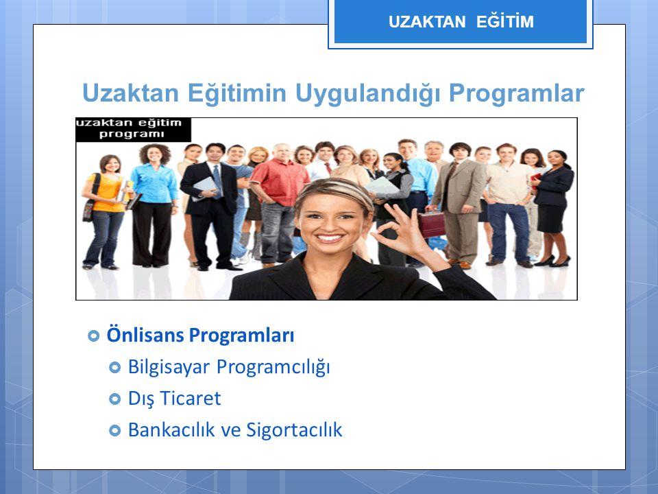 Uzaktan Eğitimin Uygulandığı Programlar