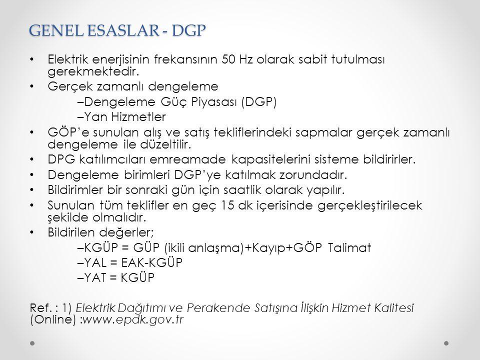 GENEL ESASLAR - DGP Elektrik enerjisinin frekansının 50 Hz olarak sabit tutulması gerekmektedir. Gerçek zamanlı dengeleme.