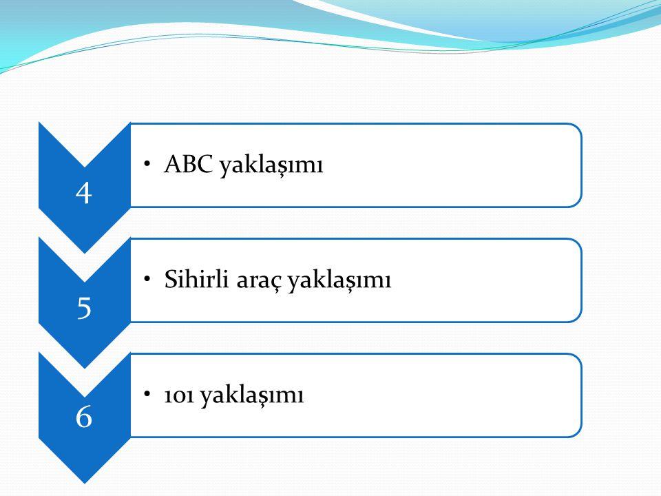 4 ABC yaklaşımı 5 Sihirli araç yaklaşımı 6 101 yaklaşımı