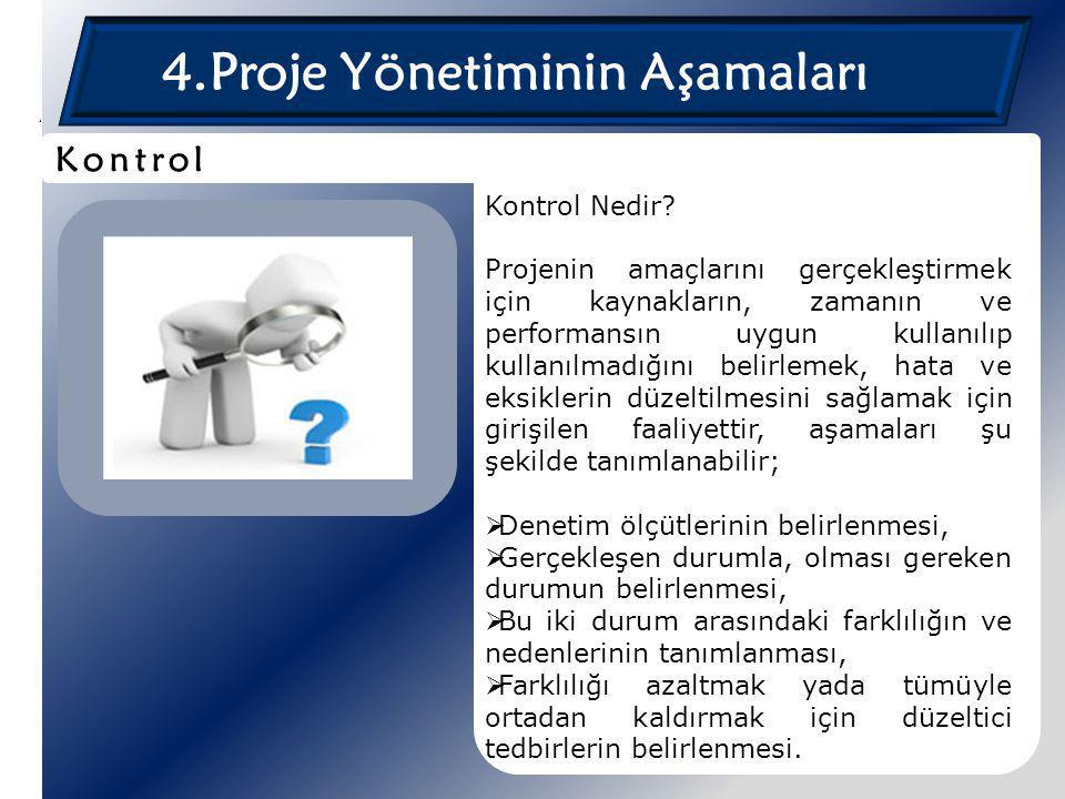 4.Proje Yönetiminin Aşamaları