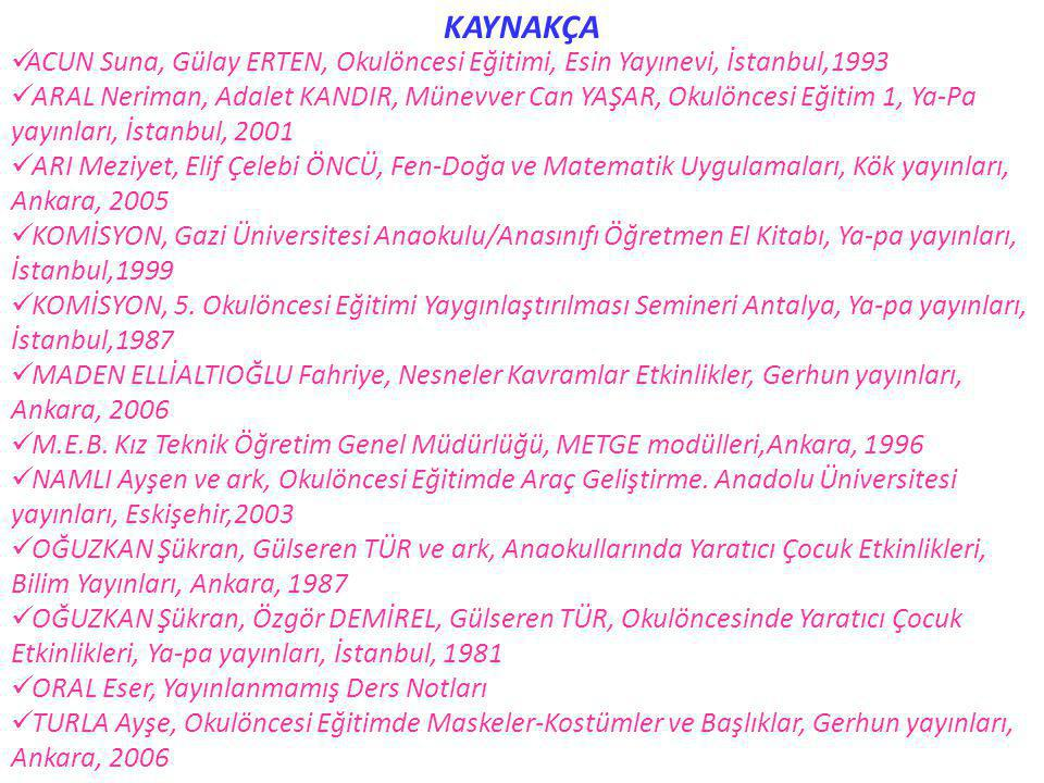 KAYNAKÇA ACUN Suna, Gülay ERTEN, Okulöncesi Eğitimi, Esin Yayınevi, İstanbul,1993.
