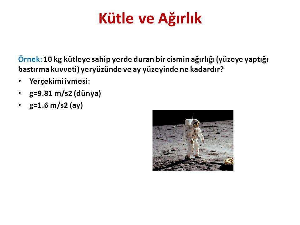 Kütle ve Ağırlık Örnek: 10 kg kütleye sahip yerde duran bir cismin ağırlığı (yüzeye yaptığı bastırma kuvveti) yeryüzünde ve ay yüzeyinde ne kadardır