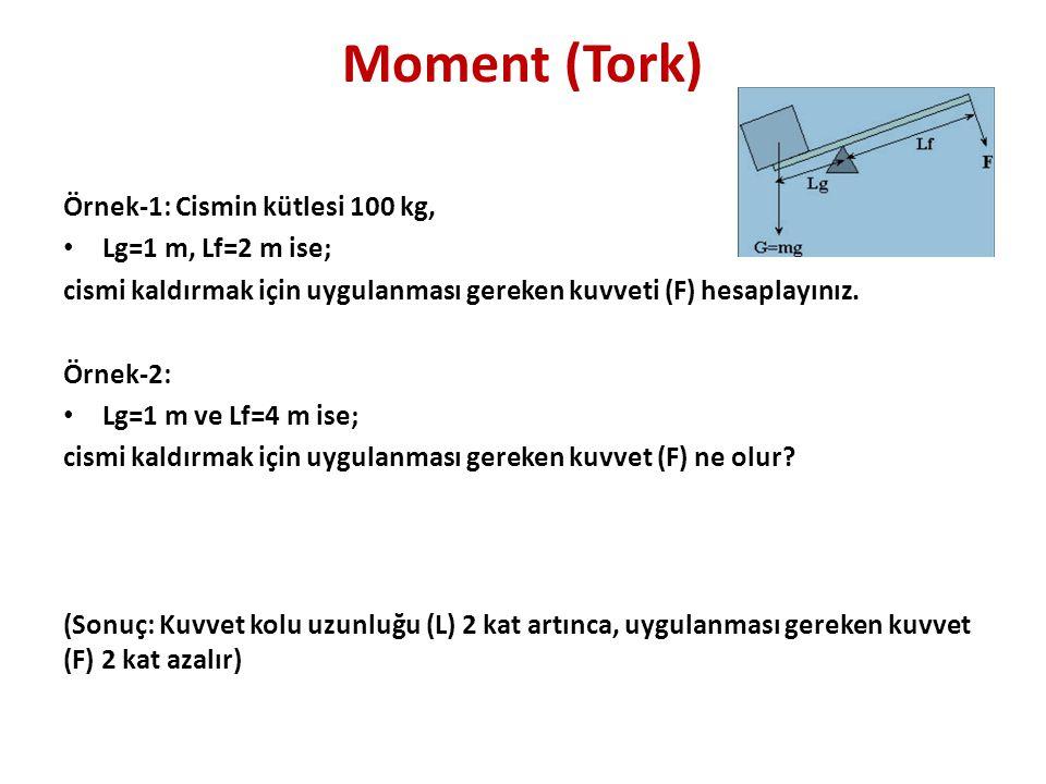 Moment (Tork) Örnek-1: Cismin kütlesi 100 kg, Lg=1 m, Lf=2 m ise;