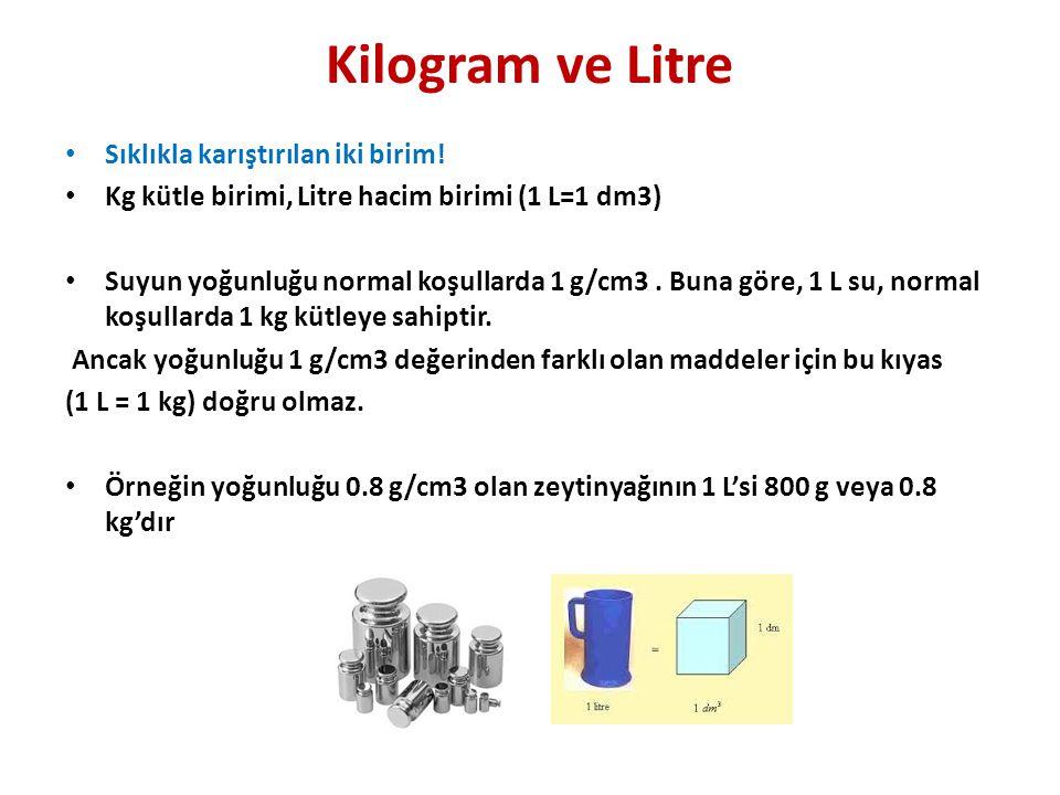 Kilogram ve Litre Sıklıkla karıştırılan iki birim!