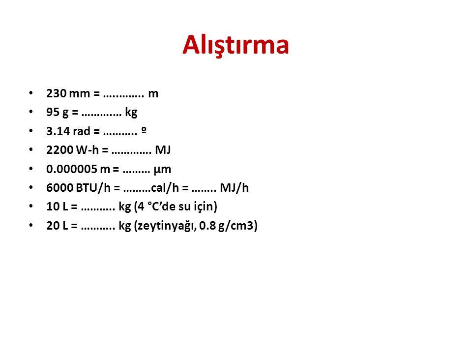 Alıştırma 230 mm = …..…….. m 95 g = ……….… kg 3.14 rad = ……….. º