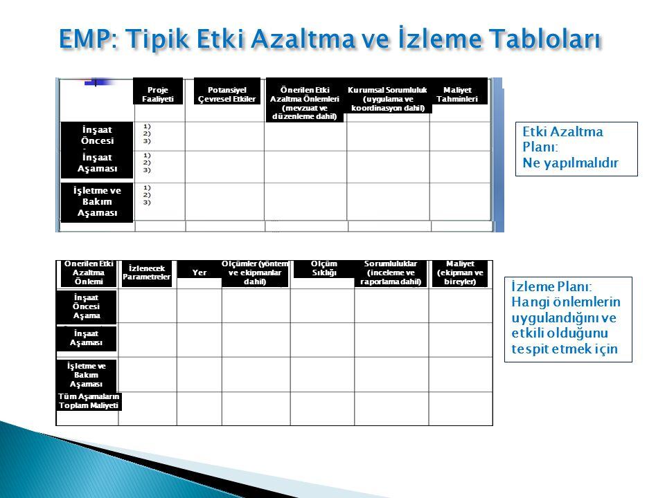 EMP: Tipik Etki Azaltma ve İzleme Tabloları