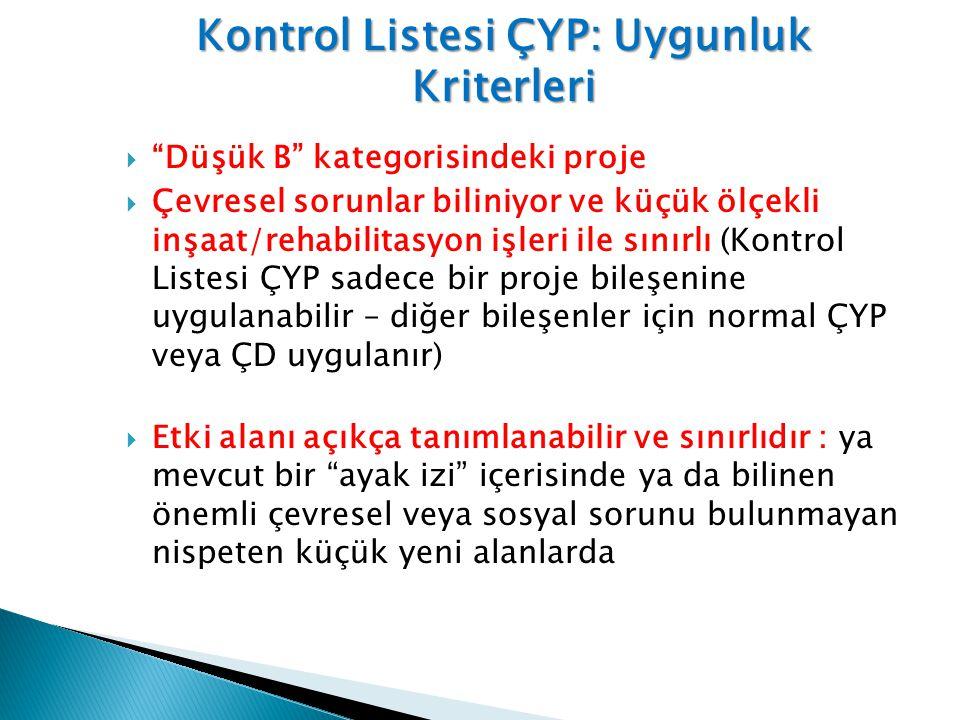 Kontrol Listesi ÇYP: Uygunluk Kriterleri