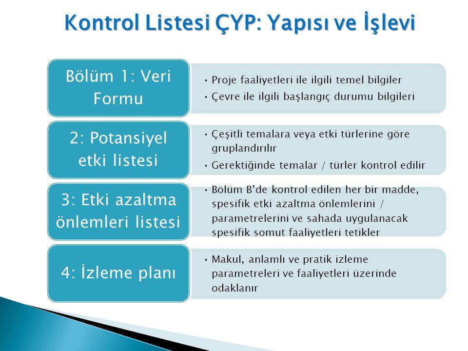 Kontrol Listesi ÇYP: Yapısı ve İşlevi