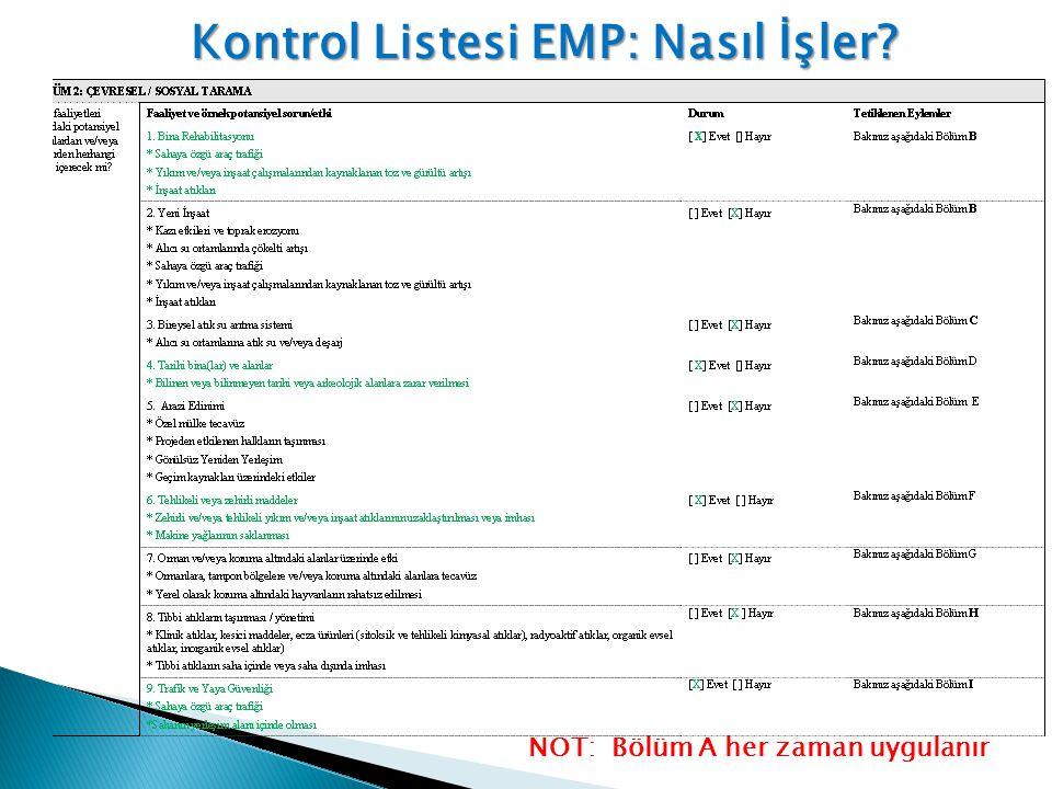 Kontrol Listesi EMP: Nasıl İşler