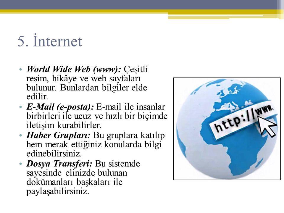 5. İnternet World Wide Web (www): Çeşitli resim, hikâye ve web sayfaları bulunur. Bunlardan bilgiler elde edilir.