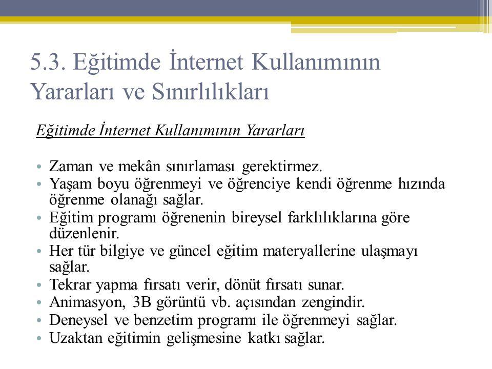 5.3. Eğitimde İnternet Kullanımının Yararları ve Sınırlılıkları