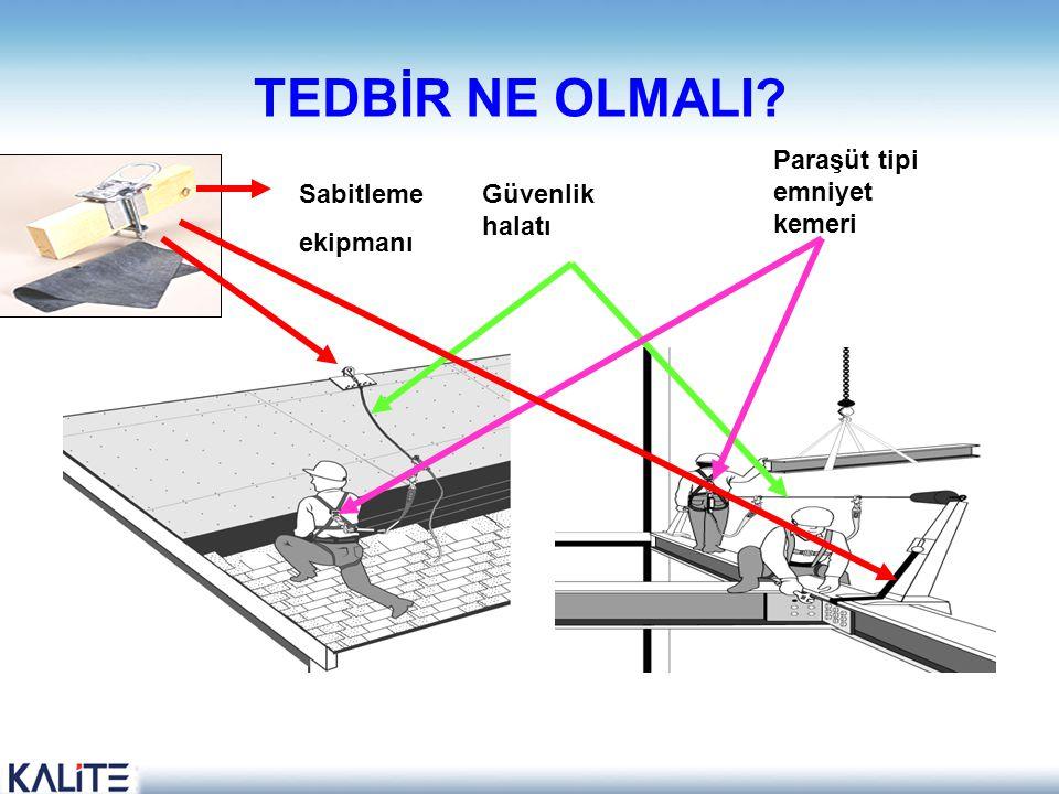 TEDBİR NE OLMALI Paraşüt tipi emniyet kemeri Sabitleme ekipmanı
