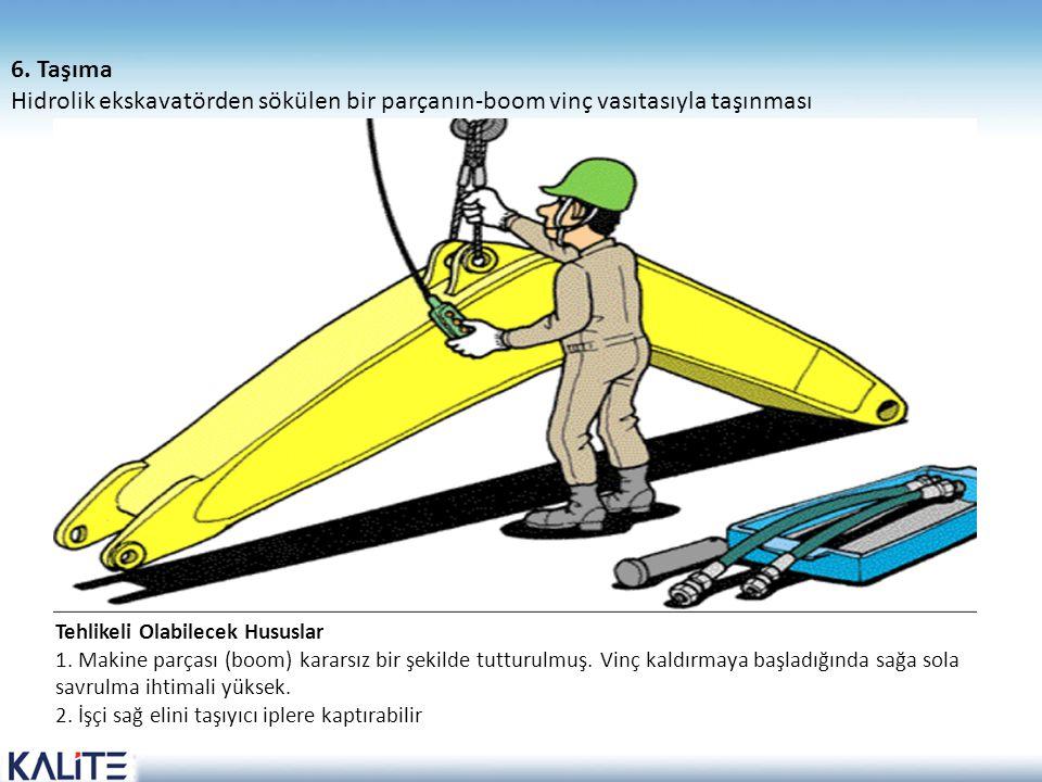 6. Taşıma Hidrolik ekskavatörden sökülen bir parçanın-boom vinç vasıtasıyla taşınması Tehlikeli Olabilecek Hususlar.