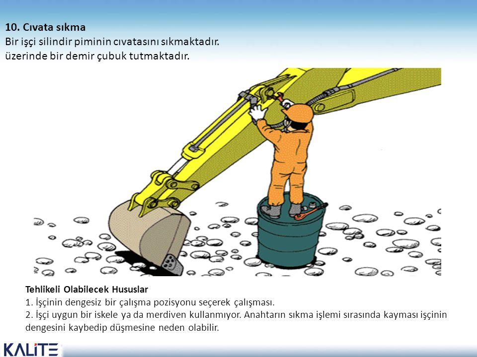 Bir işçi silindir piminin cıvatasını sıkmaktadır.