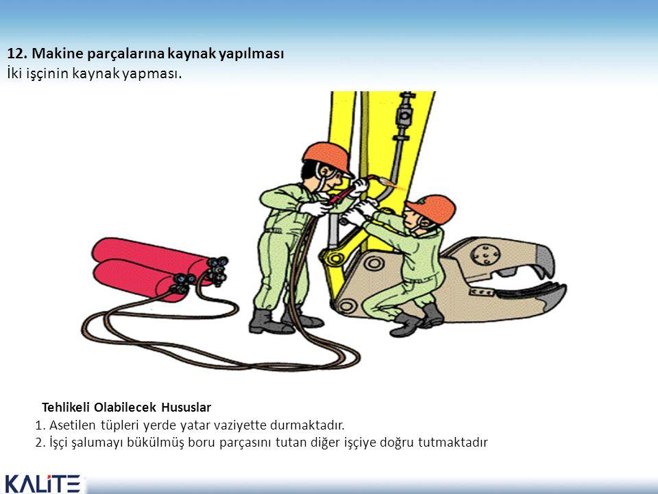 12. Makine parçalarına kaynak yapılması İki işçinin kaynak yapması.