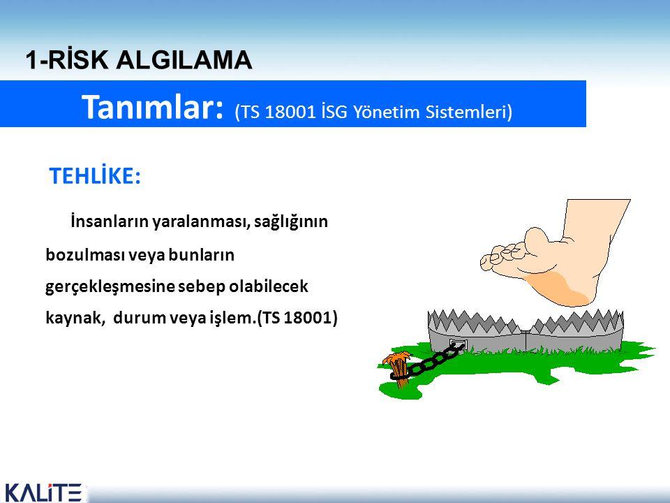 Tanımlar: (TS 18001 İSG Yönetim Sistemleri)