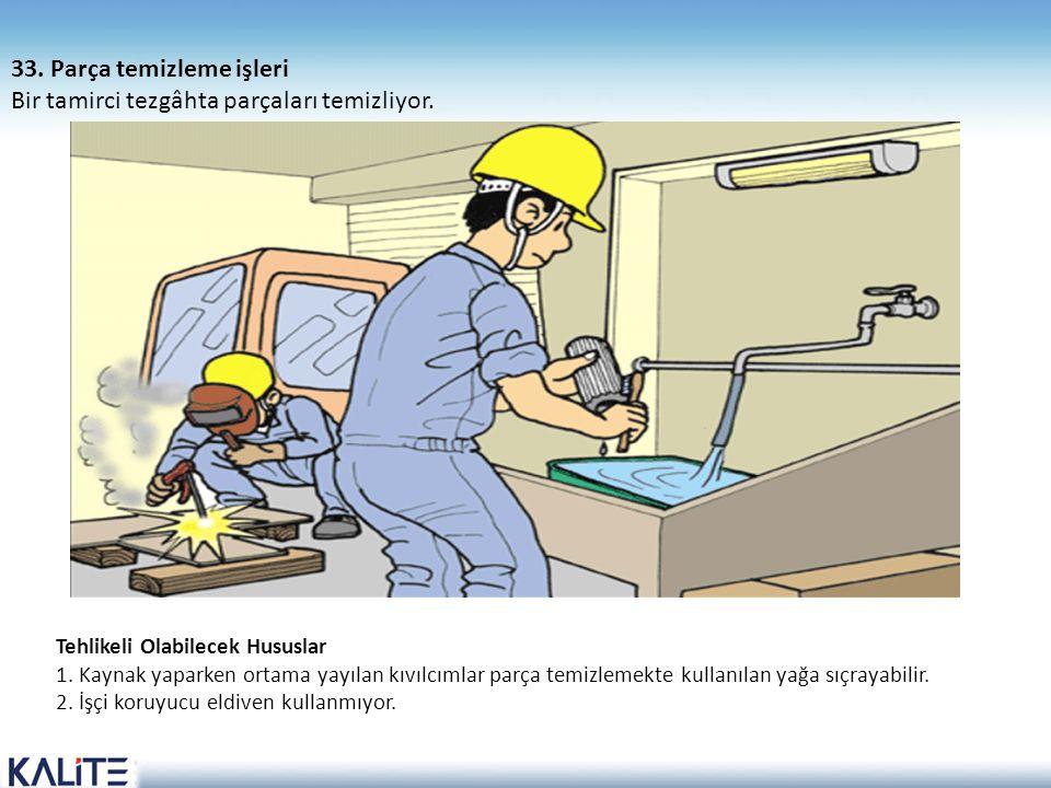 33. Parça temizleme işleri Bir tamirci tezgâhta parçaları temizliyor.