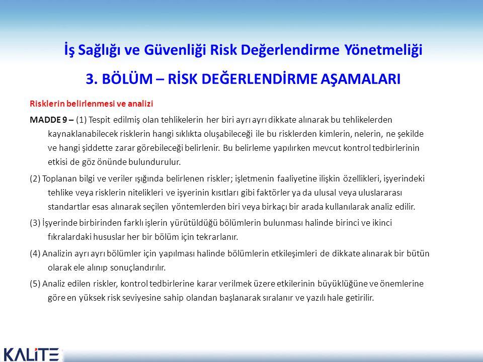 İş Sağlığı ve Güvenliği Risk Değerlendirme Yönetmeliği 3