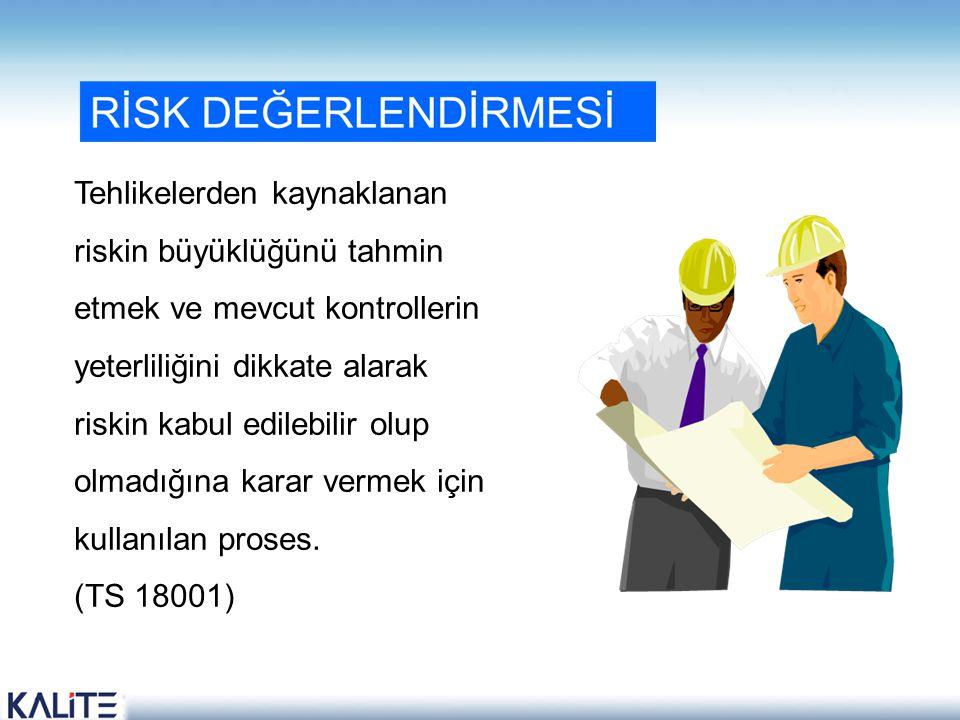 Tehlikelerden kaynaklanan riskin büyüklüğünü tahmin etmek ve mevcut kontrollerin yeterliliğini dikkate alarak riskin kabul edilebilir olup olmadığına karar vermek için kullanılan proses.