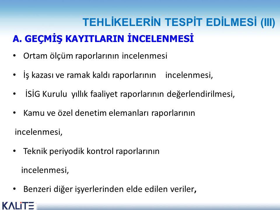TEHLİKELERİN TESPİT EDİLMESİ (III)