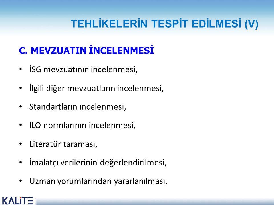 TEHLİKELERİN TESPİT EDİLMESİ (V)