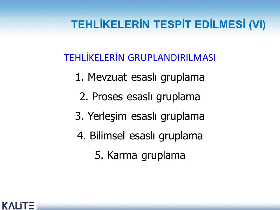 TEHLİKELERİN TESPİT EDİLMESİ (VI)