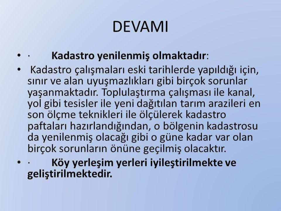 DEVAMI · Kadastro yenilenmiş olmaktadır:
