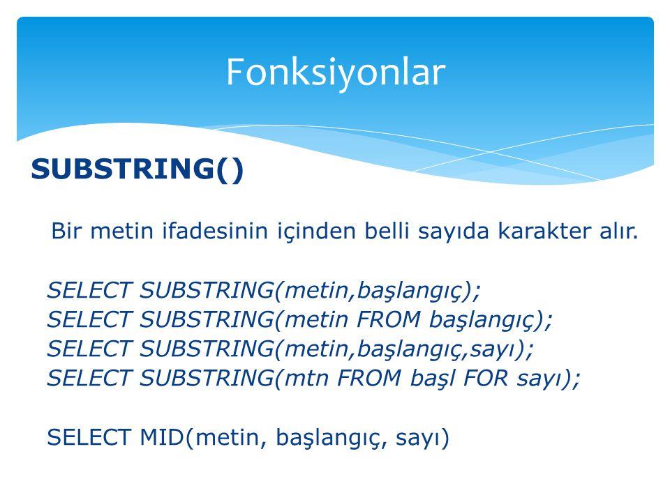 Fonksiyonlar SUBSTRING()
