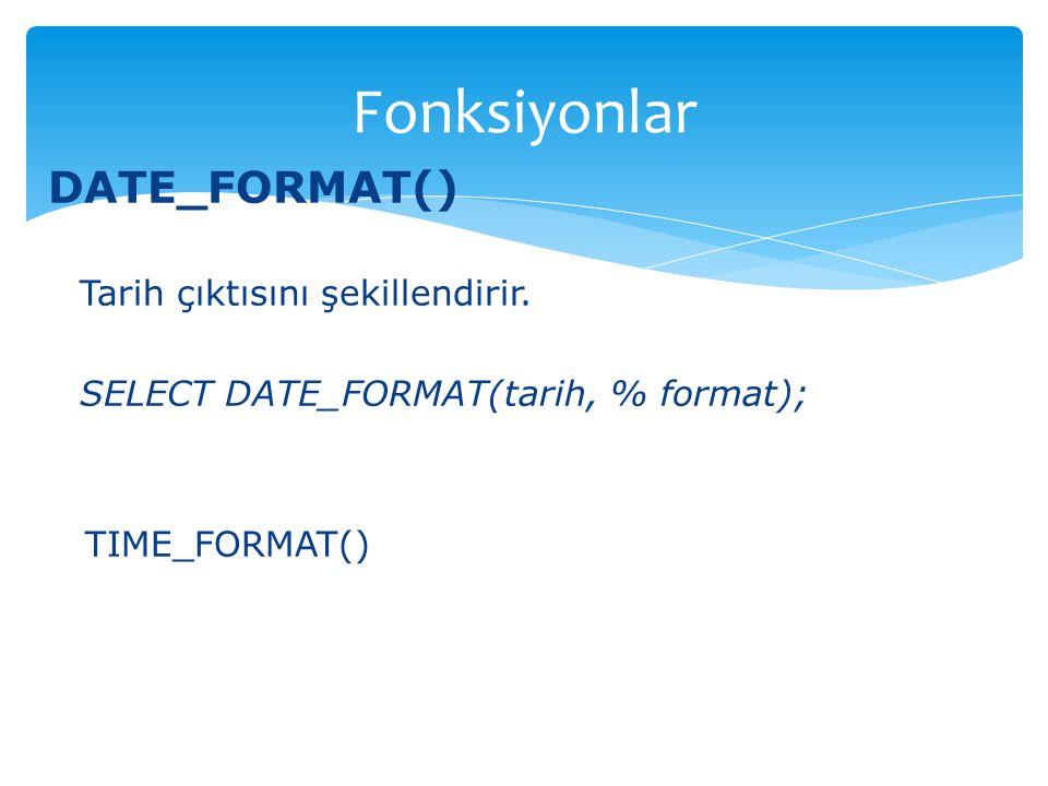 Fonksiyonlar DATE_FORMAT() Tarih çıktısını şekillendirir.