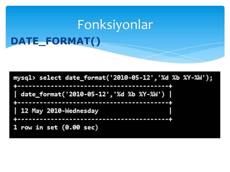 Fonksiyonlar DATE_FORMAT()