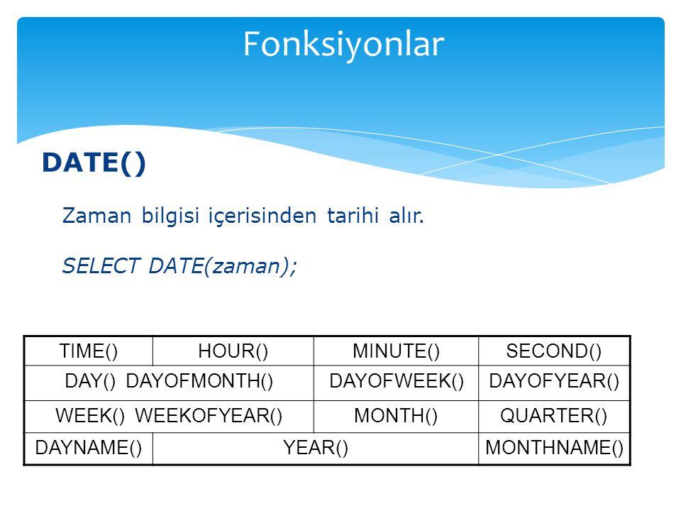 Fonksiyonlar DATE() Zaman bilgisi içerisinden tarihi alır.