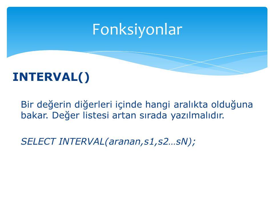 Fonksiyonlar INTERVAL()