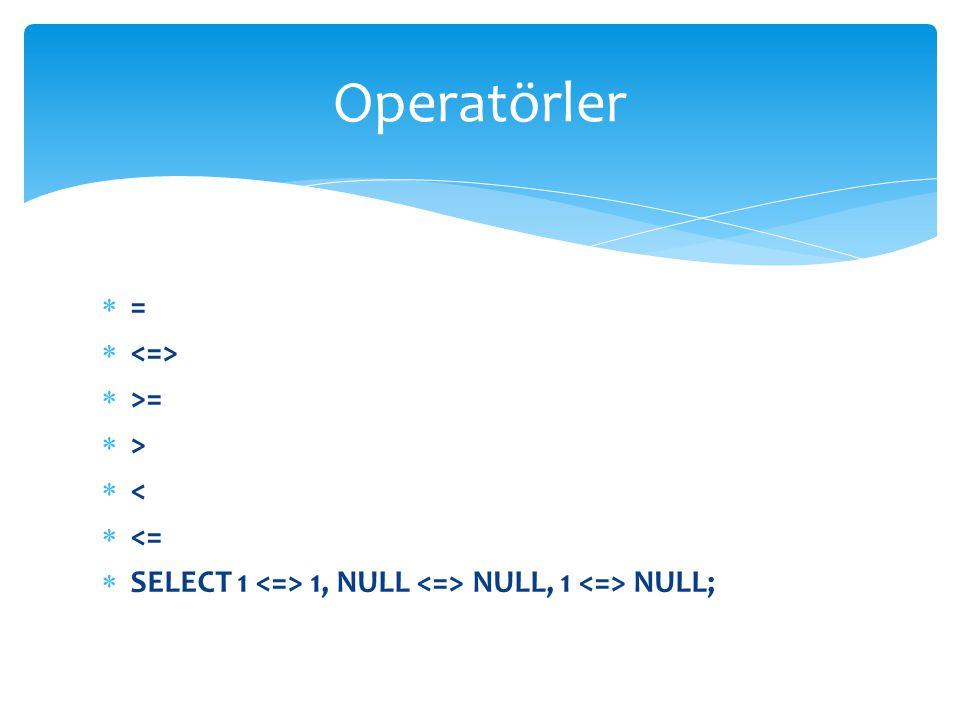 Operatörler = <=> >= > < <=