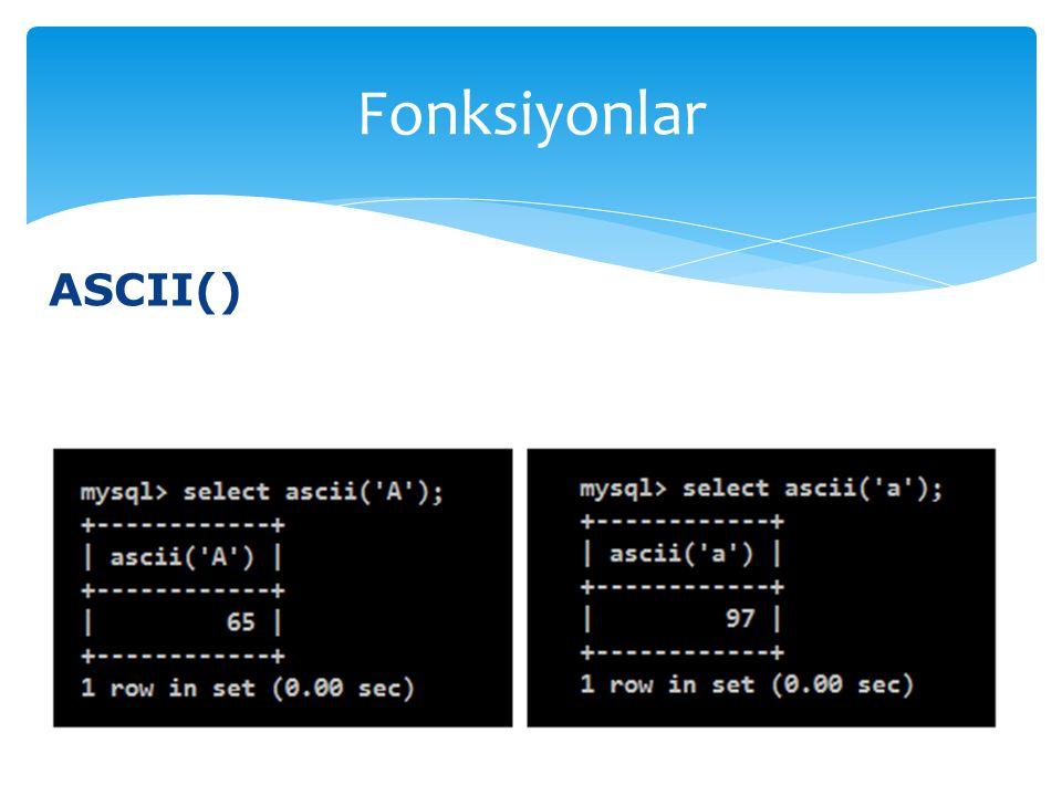 Fonksiyonlar ASCII()