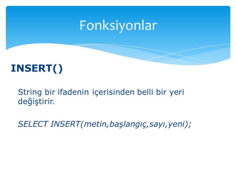 Fonksiyonlar INSERT()