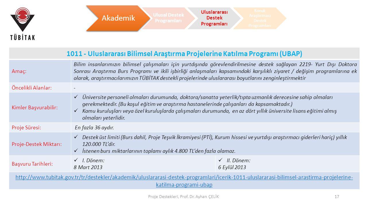 Ulusal Destek Programları Uluslararası Destek Programları