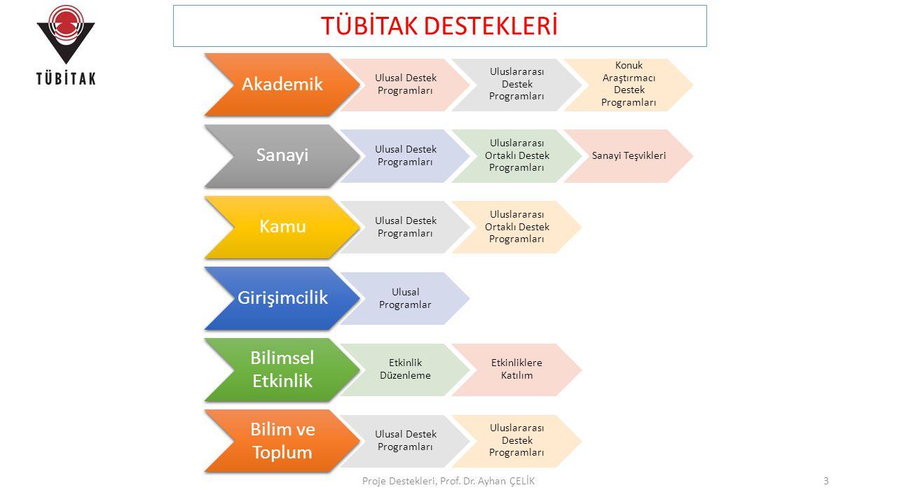 TÜBİTAK DESTEKLERİ Proje Destekleri, Prof. Dr. Ayhan ÇELİK Akademik