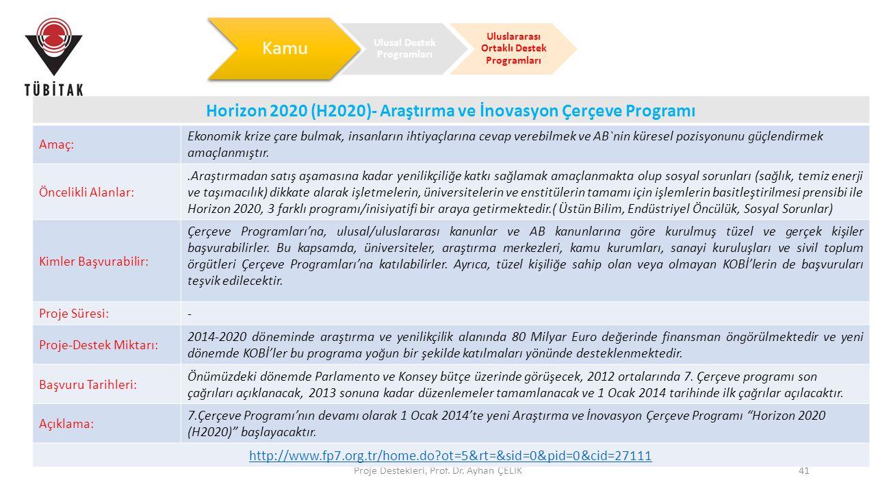Ulusal Destek Programları Uluslararası Ortaklı Destek Programları