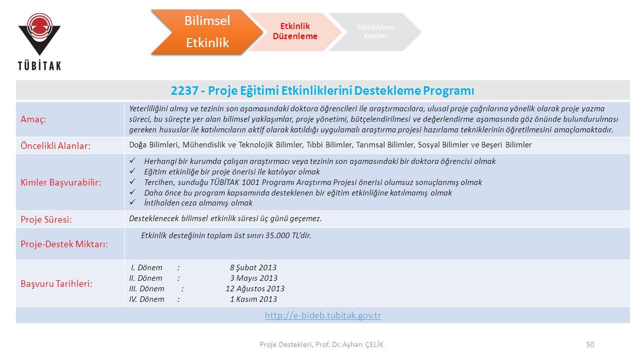 2237 - Proje Eğitimi Etkinliklerini Destekleme Programı