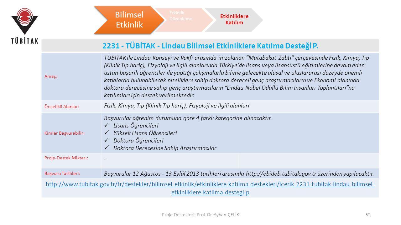 2231 - TÜBİTAK - Lindau Bilimsel Etkinliklere Katılma Desteği P.