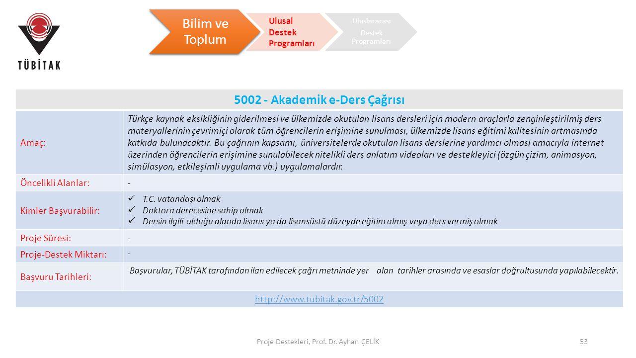 5002 - Akademik e-Ders Çağrısı