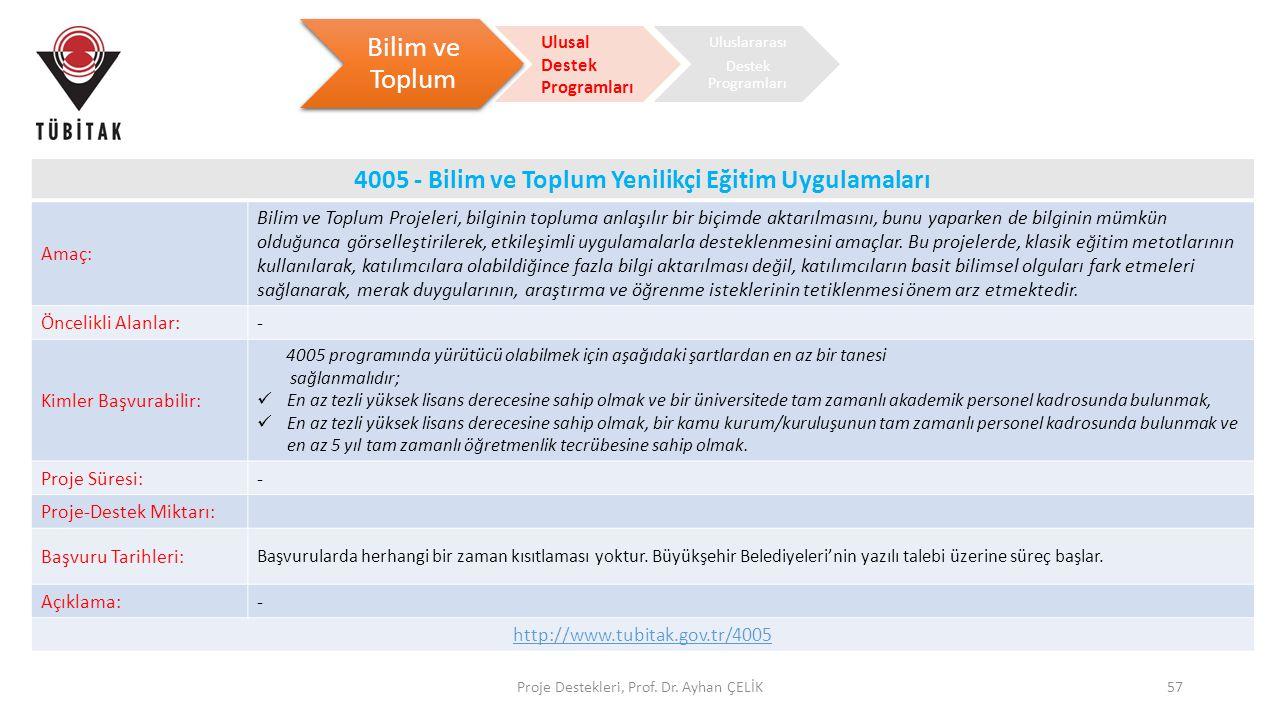 4005 - Bilim ve Toplum Yenilikçi Eğitim Uygulamaları